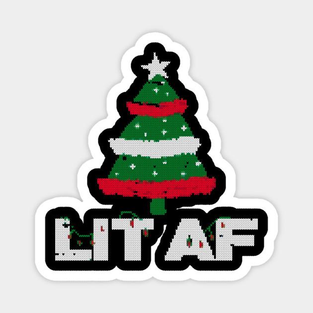 lit af christmas tree ugly sweater