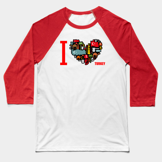 I love Turkey  Sign heart of traditional Turkish folk characters  Map and  flag of country  Turk and lyre  Camels and palm trees  Fez and hookah