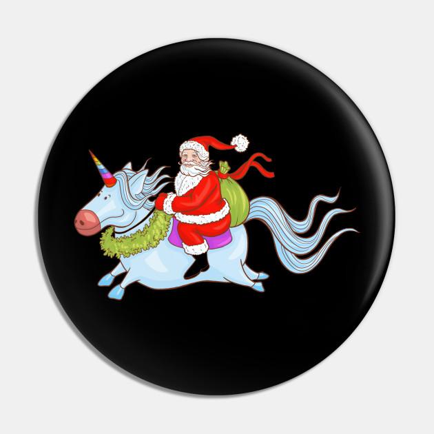 Christmas Attire Santa Claus Riding a Unicorn