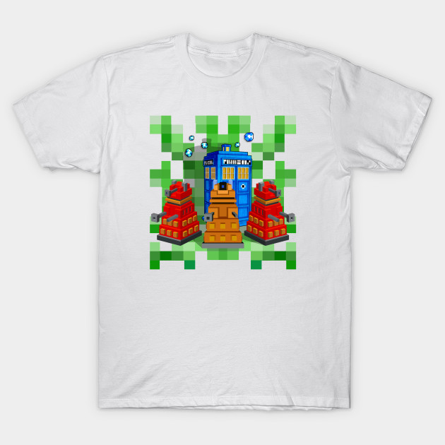 8bit Robot Droid Dalek With Blue Phone box T-Shirt-TOZ