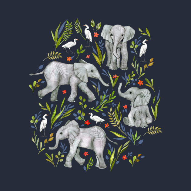Baby Elephants and Egrets in Watercolor - navy blue