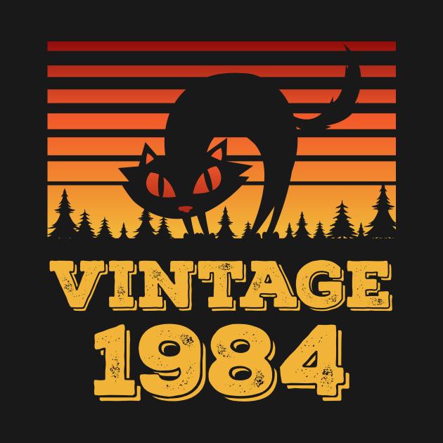 Vintage 1984 Funny Halloween Cat