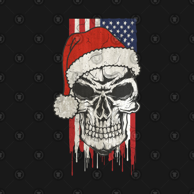 Santa Claus Skull - Stars And Stripes USA Flag