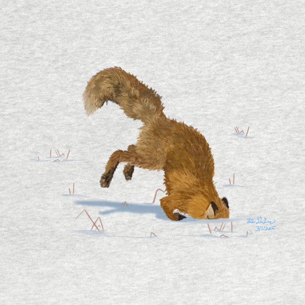 Red Fox Digging in the Snow