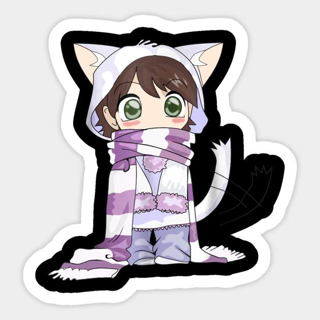 Cute Kawaii Chibi Cat Anime Girl Funny Cat Lover Sticker Teepublic
