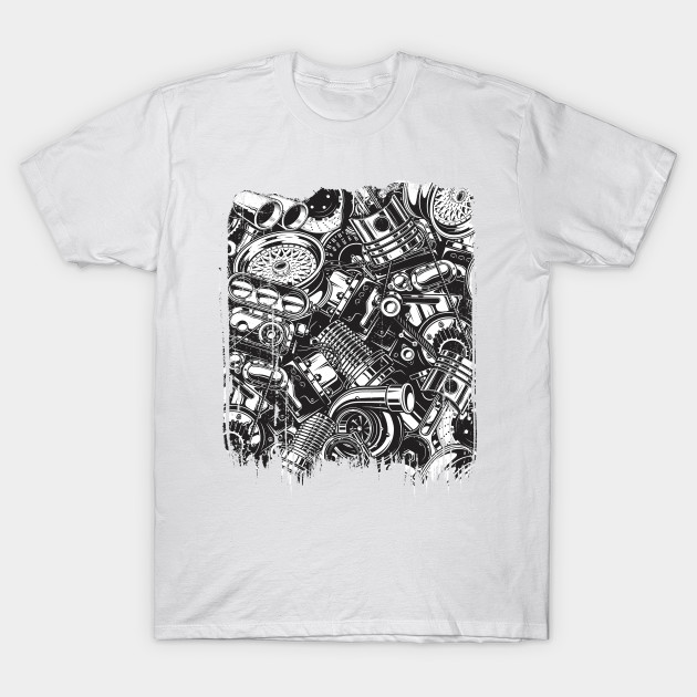 48028a2d84 Car Parts Collage Design - Cars - T-Shirt | TeePublic