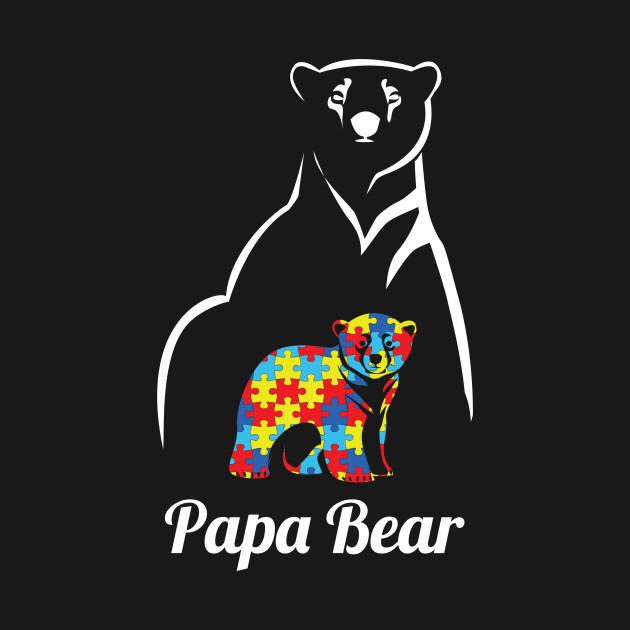 fc166f9f Papa Bear Autism Awareness Autistic Child Gift - Autism Papa Bear ...