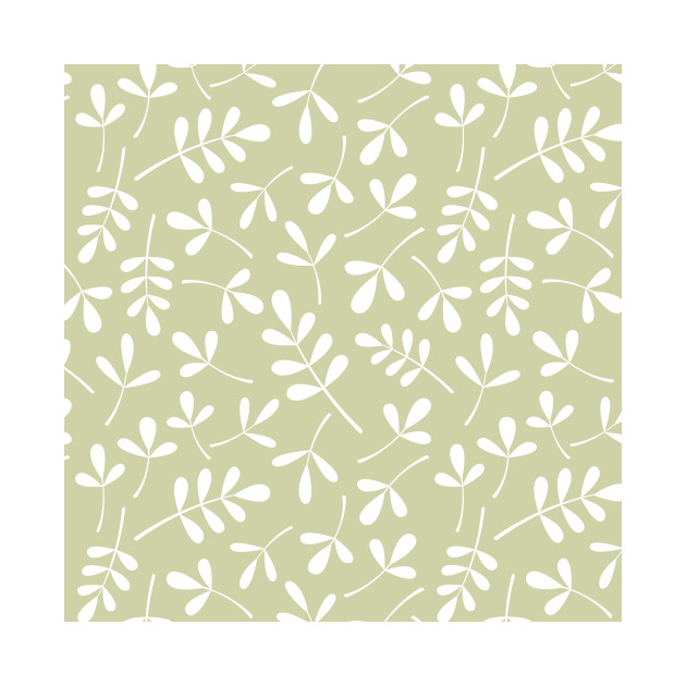 Assorted Leaf Silhouettes White on lime