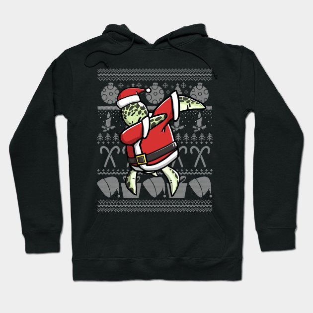 Dabbing Turtle Ugly Christmas Sweater Graphic Hoodie