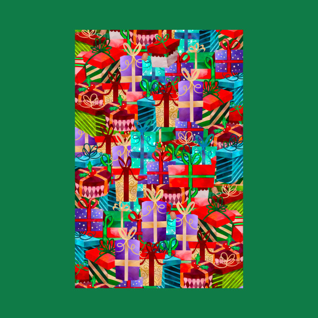 Christmas Presents Galore - Bright Neon Xmas Gifts Pattern ...