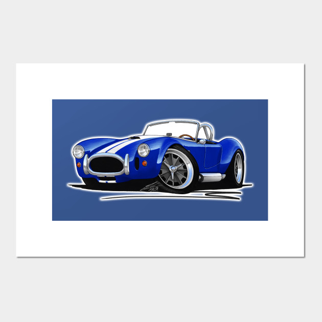 AC Cobra Shelby Caricature Retro Classic Sports Car Art Print Stripes