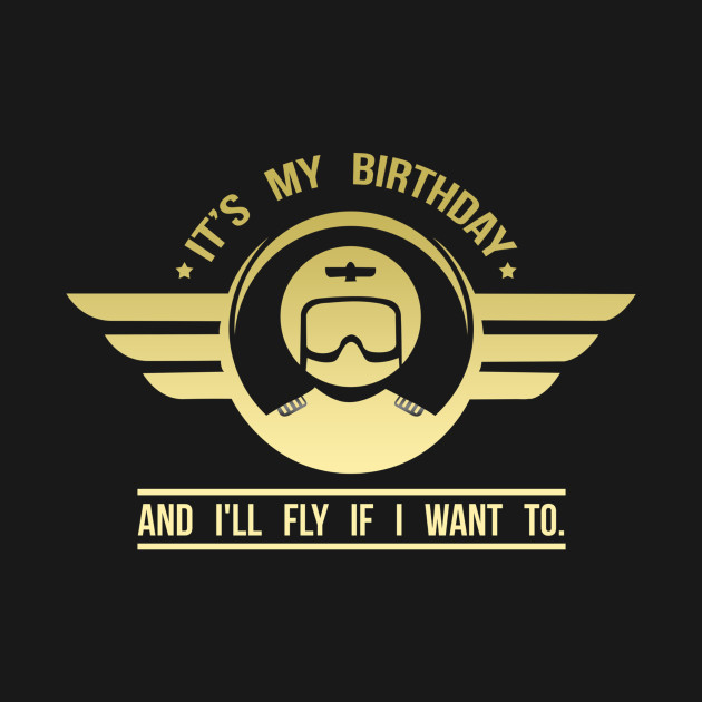 Its my birthday and Ill fly Vintage Pilot Wing strip Gifts