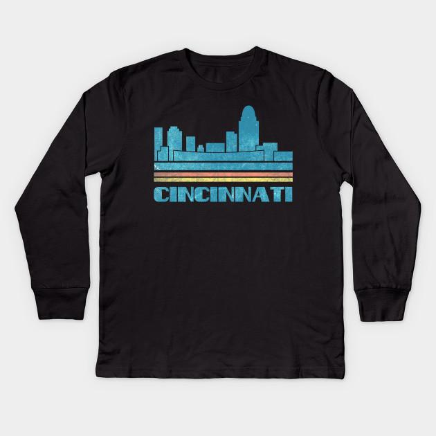 6e25ee27834c Cincinnati T-Shirt City Skyline Retro Cityscape 70s 80s Vintage Ohio OH  Gift Tee Tshirt Kids Long Sleeve T-Shirt