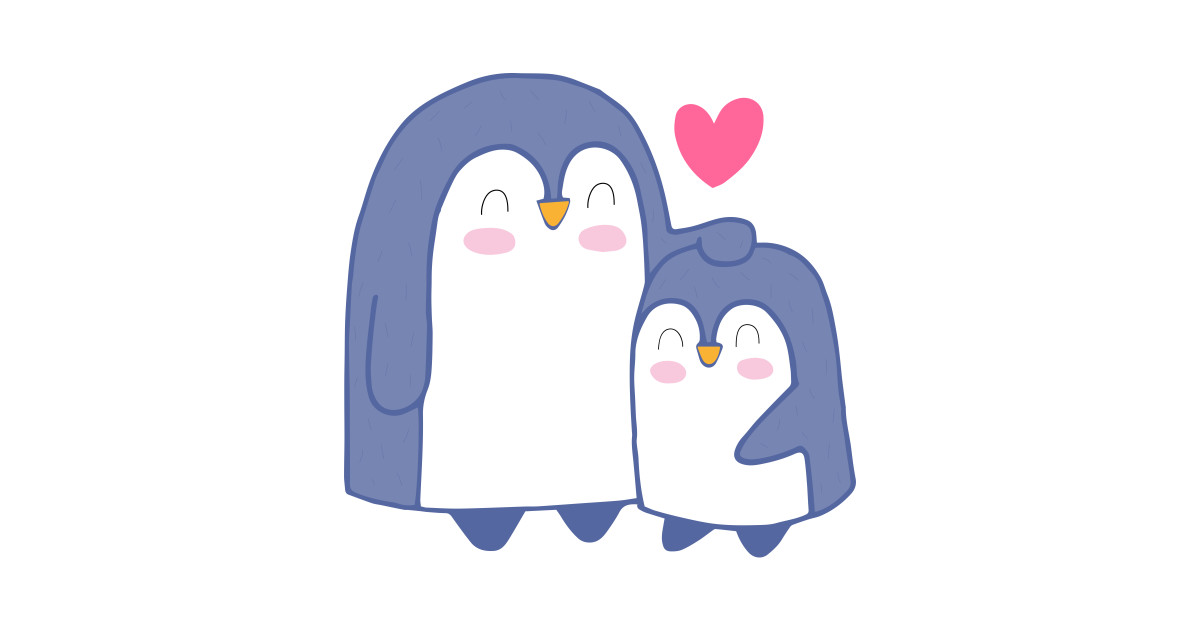 Cartoon Cute Penguin Family Art Penguin Cartoon T