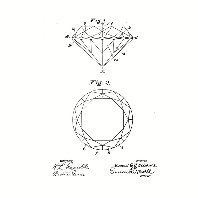 Diamond Cut Vintage Patent Drawing