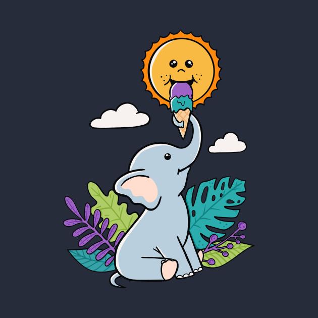 Funny Elephant and sun