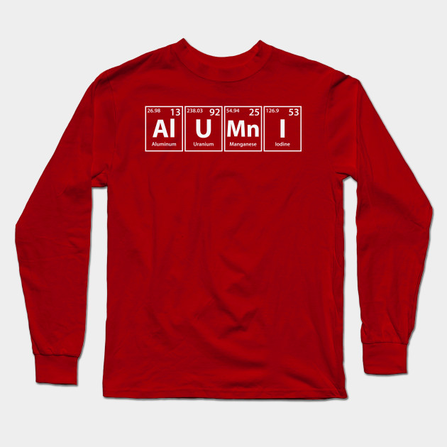 Alumni (Al-U-Mn-I) Periodic Elements Spelling - Alumni - Long Sleeve ... 85a5535f2