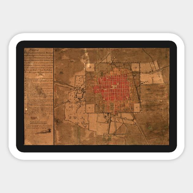 Vintage Map of Mexico City Mexico (1800) - Mexico City Map - Sticker ...