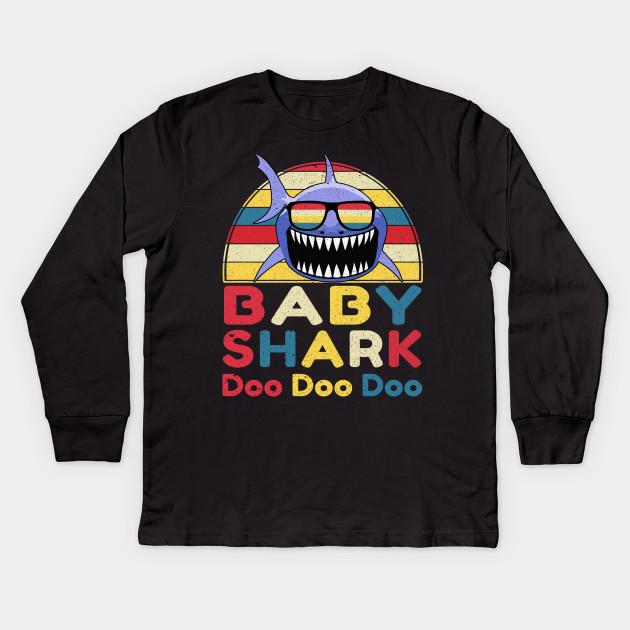 6e1d8441 Retro Vintage Baby Shark TShirt Gift for Baby Girls Kids Kids Long Sleeve T- Shirt
