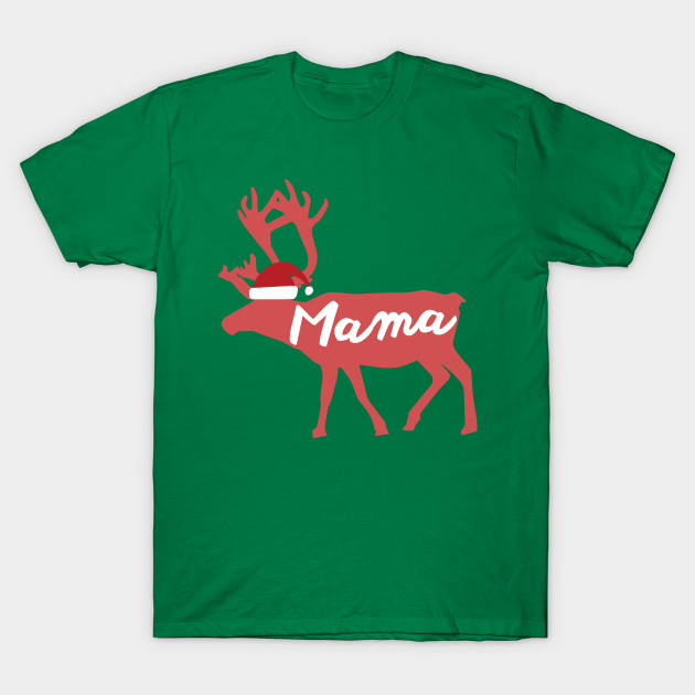 Mama Mother Mom Reindeer Family Group Christmas Eve Matching T-Shirt