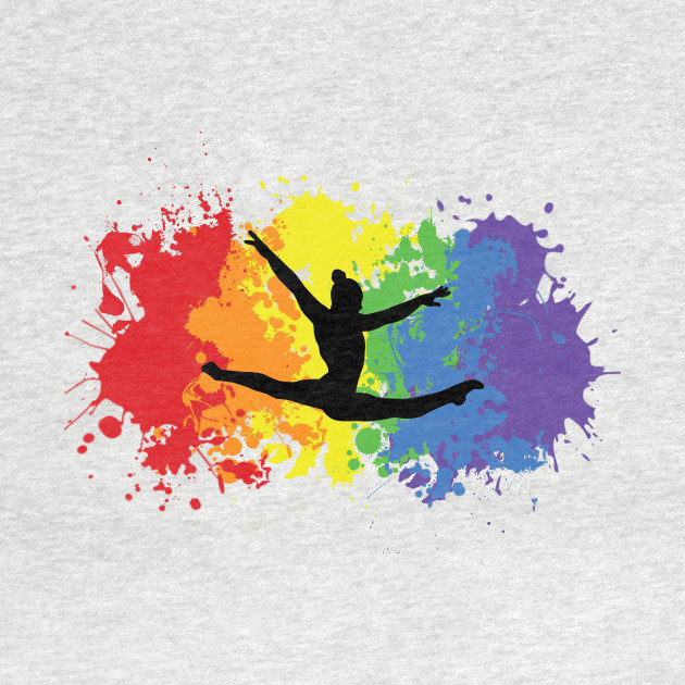 Rainbow gymnast splatter
