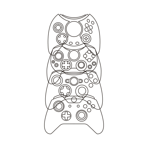 Xbox Controller Evolution (Black Lines)