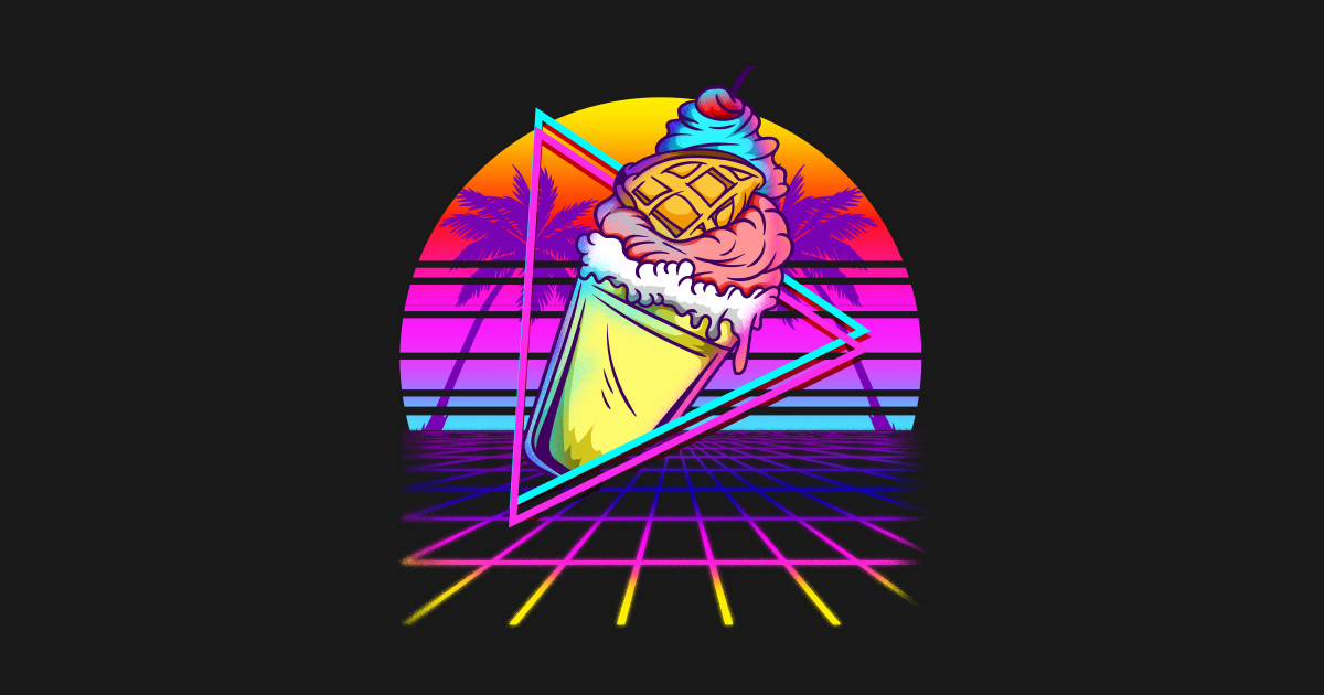 Vaporwave Ice Cream Sunset - Vaporwave Aesthetic - Hoodie   TeePublic UK
