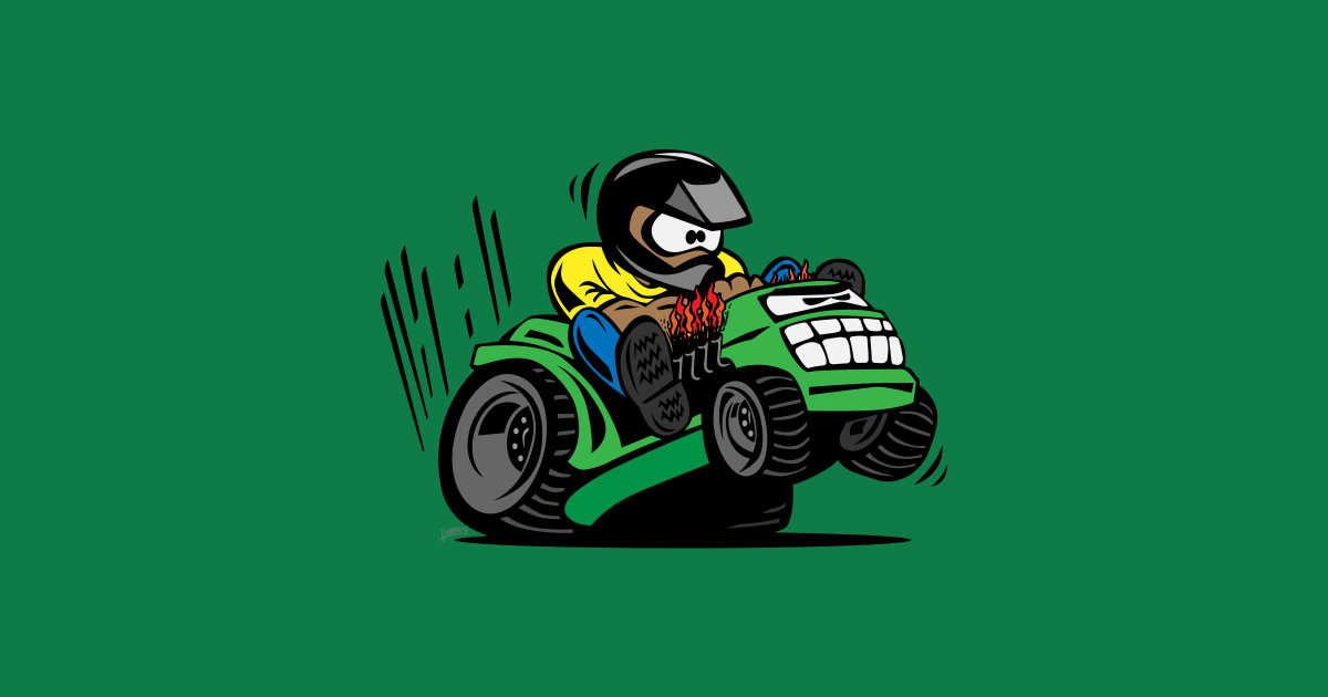 Lawn Mower Racing >> Racing Lawn Mower Tractor Cartoon - Lawn Mower - Sticker | TeePublic