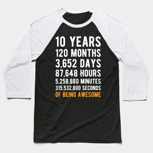 10th Birthday Gift Shirt 10 Years Old Being Awesome Baseball T