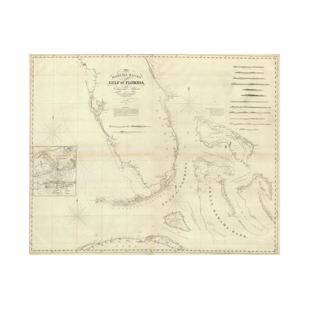 Vintage Map of Florida and The Bahamas (1827) - Florida And Bahamas ...