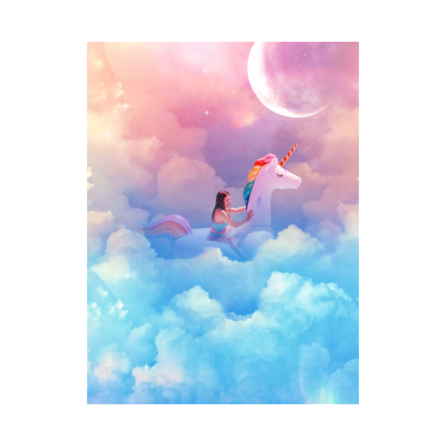A girl on a unicorn in a pool of clouds