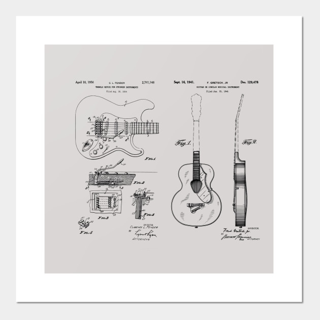 Acoustic and Fender Guitar Tremolo Patent Prints