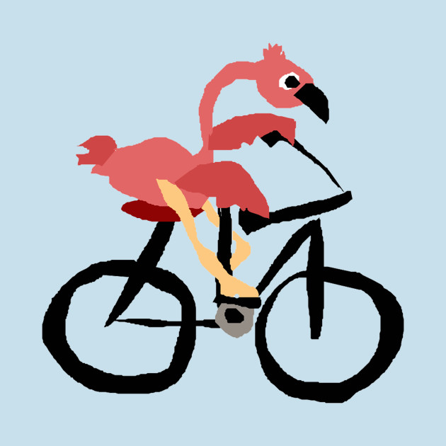Funny Funky Pink Flamingo Riding Bicycle Bicycle T