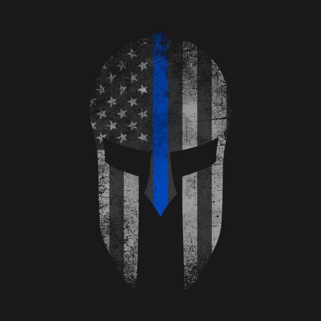 Blue Line Wallpaper: Blue Line American Flag Spartan Helm