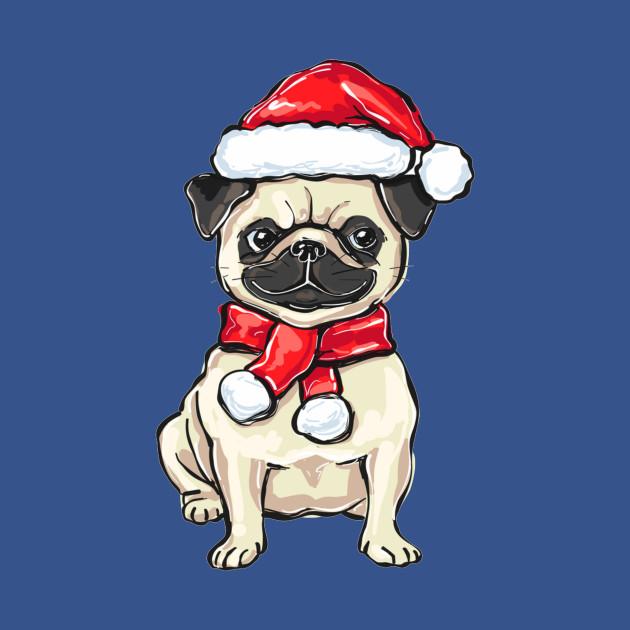 Funny Christmas pug dog in Santa hat