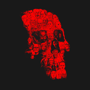 Horror Skull (red version) t-shirts