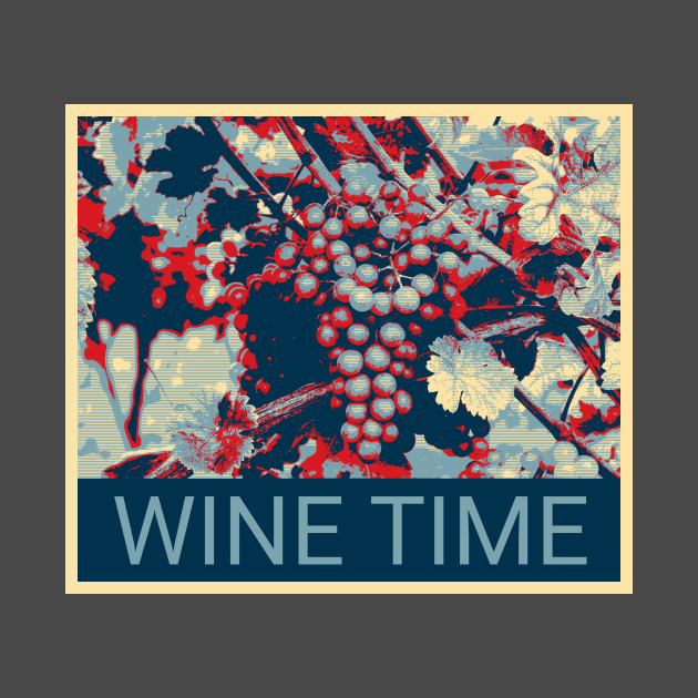 Wine Time - Shepard Fairey style design