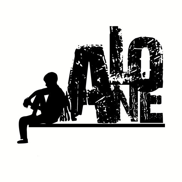 Alone guy siluet black and white