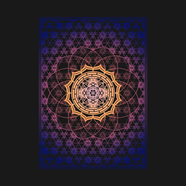 Sacred Geometry Gradient Framed Flower