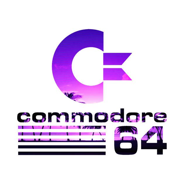 commodore 64 sunset vaporwave logo commodore 64 t