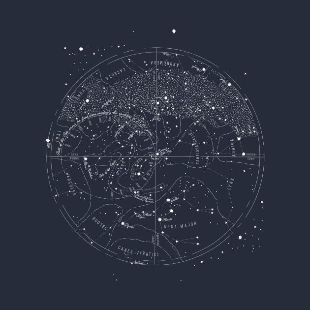 Vintage Northern Hemisphere Star Map Constellations Tapestry