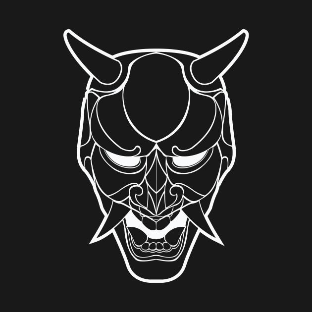 japanese demon mask line art japan tshirt teepublic