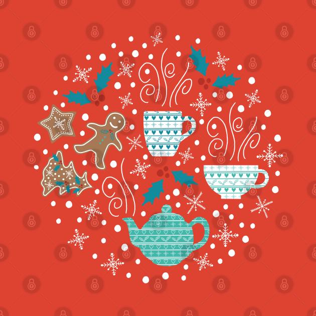 Cute Christmas tea illustration.