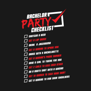 bachelor party checklist t shirts teepublic