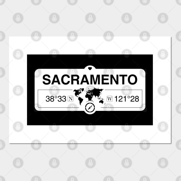 sacramento california map gps coordinates artwork with compass sacramento california posters and art prints teepublic teepublic
