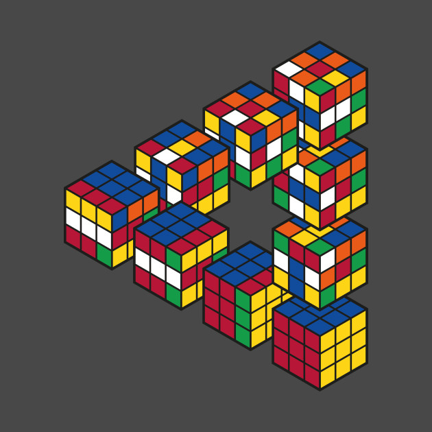 Rubiks Cube Penrose Triangle Optical Illusion - Inspired by Escher