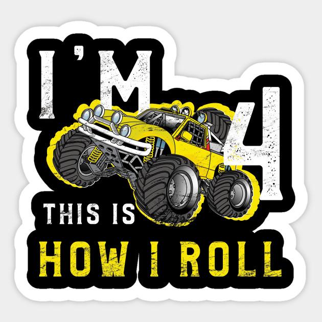 Monster Truck Birthday Shirt Im 4 Years Old Sticker