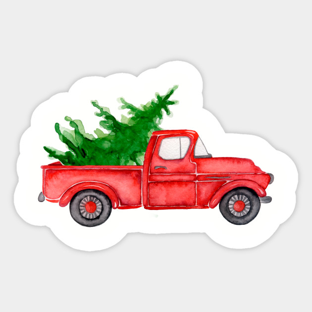 Old Truck With Christmas Tree.Red Truck Merry Christmas Tree Vintage Red Pickup Truck