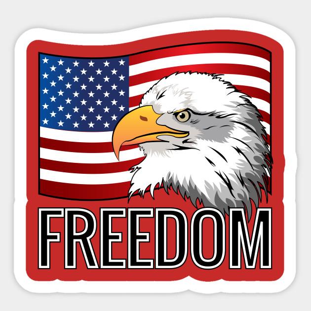 14bffe954c009 Freedom Usa Flag American Eagle - Freedom - Sticker