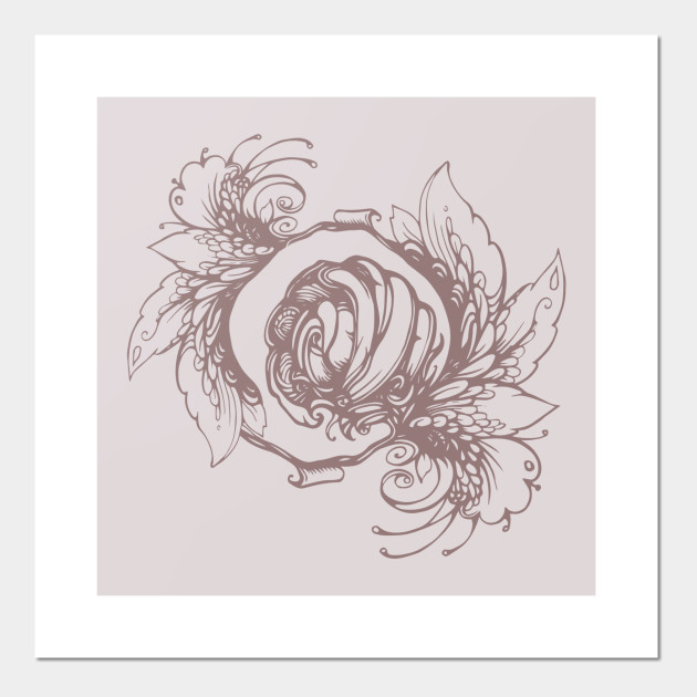 5ca61a094f127 Rose wreath, floral composition in tattoo style Posters and Art Prints